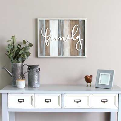"""Rustic """"family"""" Wood Decorative Sign Wall Decor, Multi - Home Depot"""