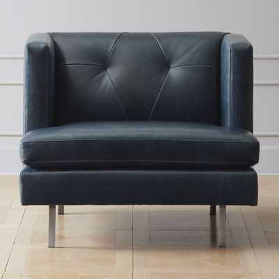 Avec Leather Chair with Brushed Stainless Steel Legs - CB2