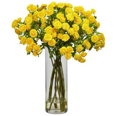 Nearly Natural 17 in. H Yellow Japanese Silk Flower Arrangement - Home Depot