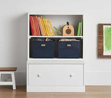 Cameron Bookcase Cubby and Drawer Base, Charcoal, Flat Rate - Pottery Barn Kids