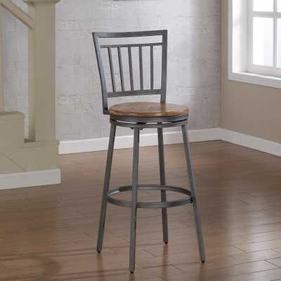 Filmore 25 in. Grey Swivel Counter Stool - Home Depot