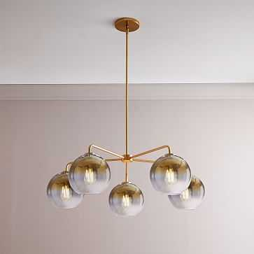 Sculptural Glass 5-Light Round Globe Chandelier, Small, Globe Gold Ombre Shade, Brass Canopy - West Elm