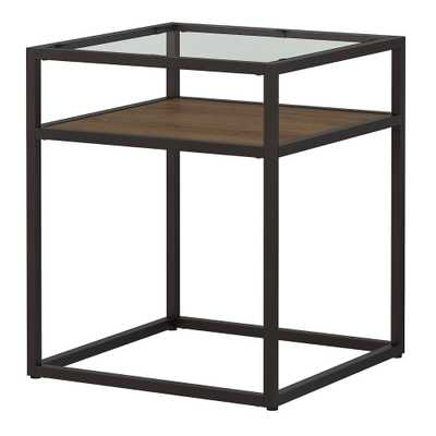 Anthropology Glass Top End Table Brown - Bush Furniture - Target