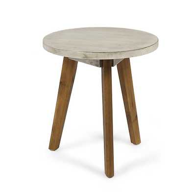 Noble House Marina Light Gray Round Wood Outdoor Side Table - Home Depot