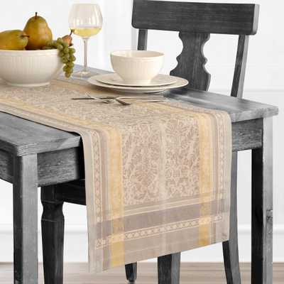 Promenade 16 in. W x 72 in. L Gray/Gold Cotton Table Runner - Home Depot