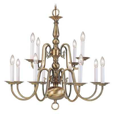 Livex Lighting Providence 12-Light Antique Brass Chandelier - Home Depot
