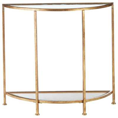 Bella Aged Gold Demilune Glass Console Table - Home Depot