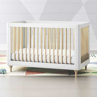 Babyletto Lolly White & Natural 3 in 1 Convertible Crib - Crate and Barrel