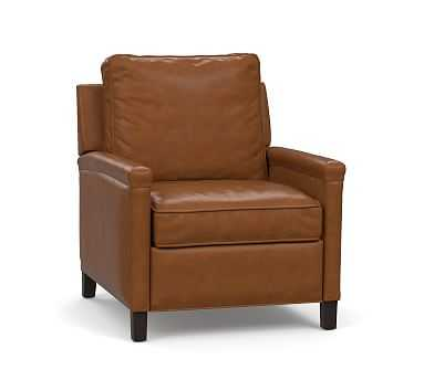 Tyler Square Arm Leather Recliner with Bronze Nailheads, Down Blend Wrapped Cushions, Statesville Toffee - Pottery Barn