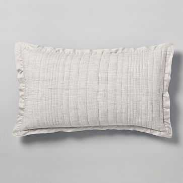 Belgian Flax Linen Linework King Sham, Frost Gray - West Elm