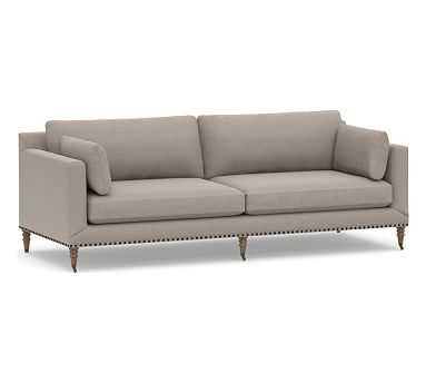 "Tallulah Upholstered Grand Sofa 95"", Down Blend Wrapped Cushions, Performance Everydayvelvet(TM) Carbon - Pottery Barn"