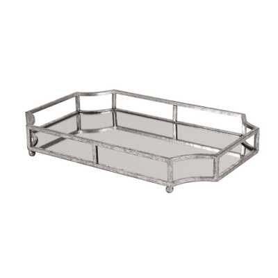 Kate and Laurel Ciel Silver Decorative Tray - Home Depot