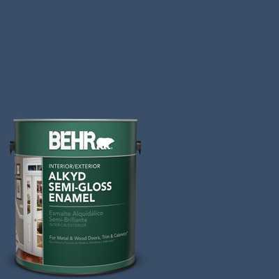 BEHR 1 gal. #M510-7 Inked Semi-Gloss Enamel Alkyd Interior/Exterior Paint - Home Depot
