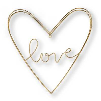 """16 in. x 16 in. """"Amour"""" Metal Wall Art, Gold - Home Depot"""