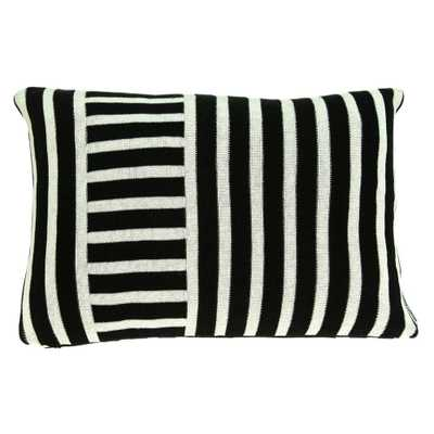 HomeRoots Jordan 12 in. Black Striped Throw Pillow Cover - Home Depot