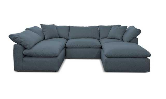 Blue Bryant Mid Century Modern U-Sofa Bumper Sectional (5 piece) - Mixology Indigo - Joybird