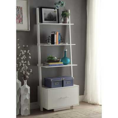 American Heritage White Ladder Bookcase with File Drawer - Home Depot