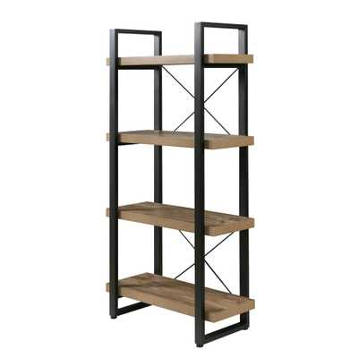 Bourbon Foundry 4-Tier Bookshelf, Wood and Black Steel, Brown - Home Depot