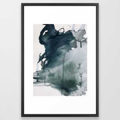 """Lakeside: a minimal, abstract, watercolor and ink piece in shades of blue and green Framed Art Print by Blushingbrushstudio_FrameScoopBlack_ 26"""" X 38"""" - Society6"""