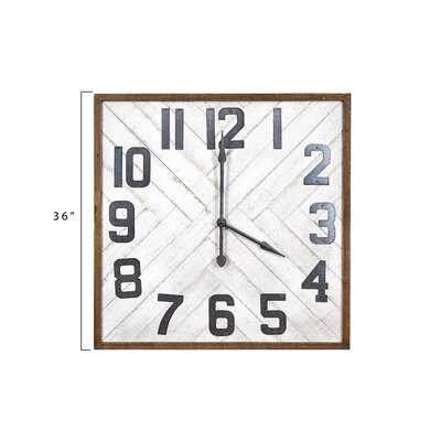 Oversized Louie Square Wood Wall Clock - Birch Lane