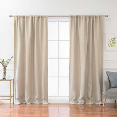 Best Home Fashion 84 in. L Polyester Faux Linen Room Darkening Curtains in Natural - Home Depot