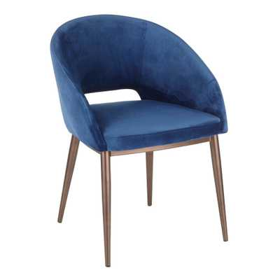 Lumisource Renee Blue Velvet Dining Chair with Copper Metal Legs - Home Depot