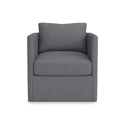 Naples Swivel Chair, Textured Linen/Cotton, Charcoal - Williams Sonoma
