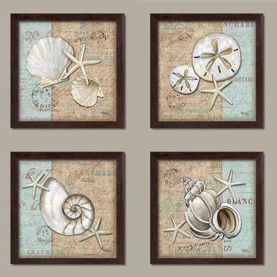 'Trendy Coastal Art Shells on Linen and Postcard Style-Background' 4 Piece Framed Graphic Art Print Set - Wayfair