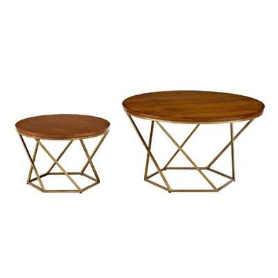 Geometric Wood Nesting Coffee Tables in Walnut and Gold, Brown/Gold - Home Depot