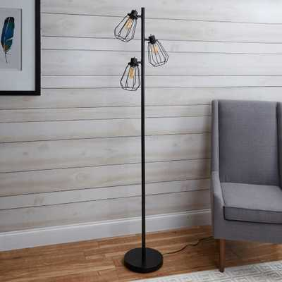 Silverwood York Industrial Tree 72 in. Black Floor Lamp with Shade - Home Depot