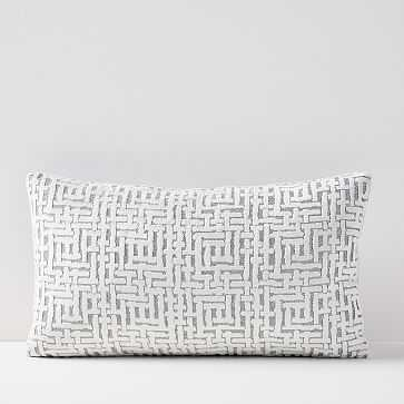"Allover Crosshatch Jacquard Velvet Lumbar Pillow Cover -  12""x21"" - West Elm"