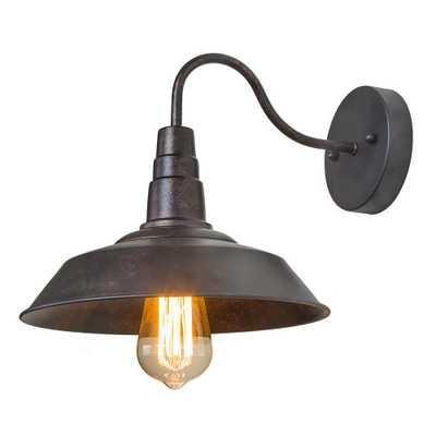 LNC 1-Light Rust Gooseneck Wall Sconce - Home Depot