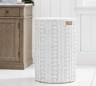 Perry Round Hamper, White - Pottery Barn