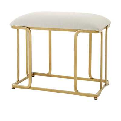 Home Decorators Collection Ivory Upholstered Metal Vanity Stool with Open Frame Gold Base (24.88 in W. X 21 in H.) - Home Depot