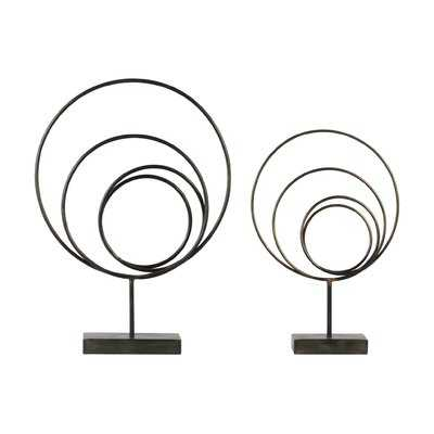 Metal Round Abstract 2 Piece Sculpture Set - Wayfair