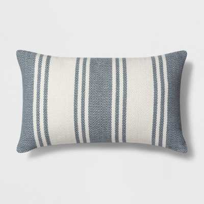 Woven Stripe Lumbar Throw Pillow White/Blue - Threshold - Target