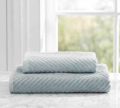 Chevron Sculpted 650-gram Weight Bath Towel, Dark Porcelain Blue - Pottery Barn