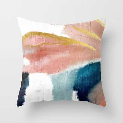"Exhale: a pretty, minimal, acrylic piece in pinks, blues, and gold Throw Pillow - Indoor Cover (16"" x 16"") with pillow insert by Blushingbrushstudio - Society6"