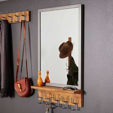 Industrial Entryway Mirror, Mango Wood + Steel - West Elm