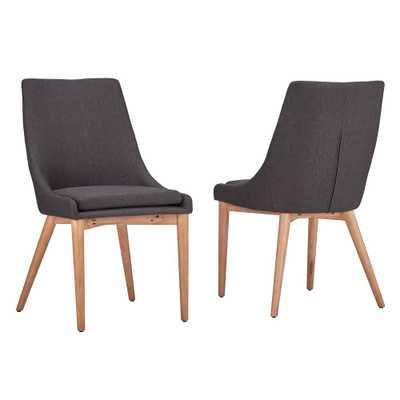Nobleton Dark Grey Linen Dining Chair (Set of 2) - Home Depot