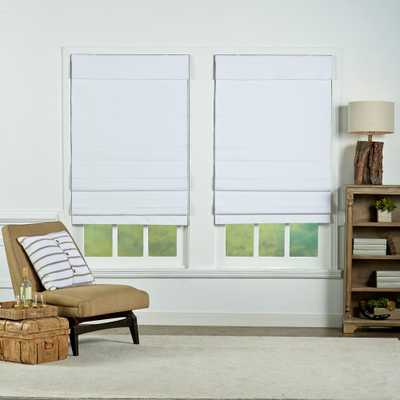 Perfect Lift Window Treatment White Insulating Cordless Cotton Roman Shade - 34 in. W x 72 in. L - Home Depot