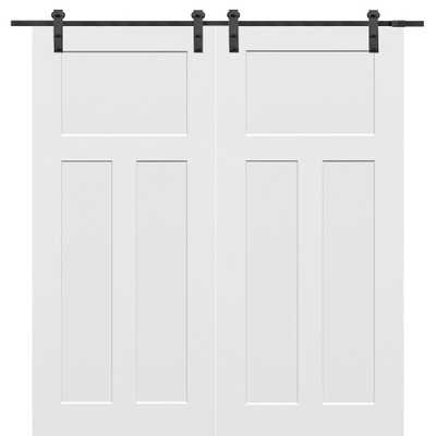 MMI Door 60 in. x 80 in. Primed Composite Craftsman Smooth Surface Solid Core Double Barn Door with Sliding Door Hardware Kit - Home Depot