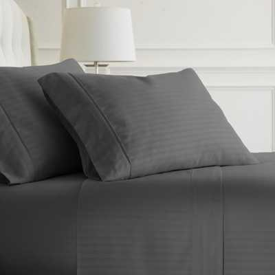 Embossed Striped 4-Piece Gray King Performance Bed Sheet Set - Home Depot