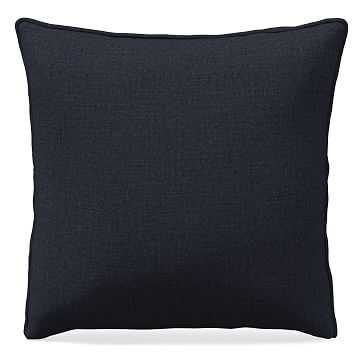 "24""x 24"" Welt Seam Pillow, Performance Yarn Dyed Linen Weave, Indigo - West Elm"