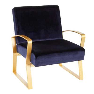 Lumisource Henley Gold and Blue Velvet Lounge Chair - Home Depot