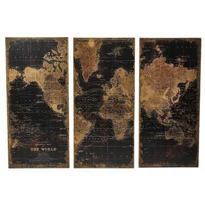 Stanford World Map 3 Piece Graphic Art Set - Wayfair