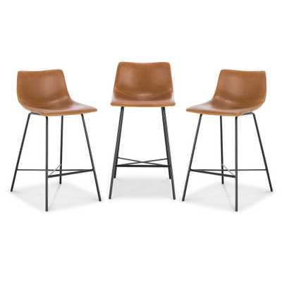 Poly and Bark Paxton 24 in. Tan Counter Stool (Set of 3) - Home Depot