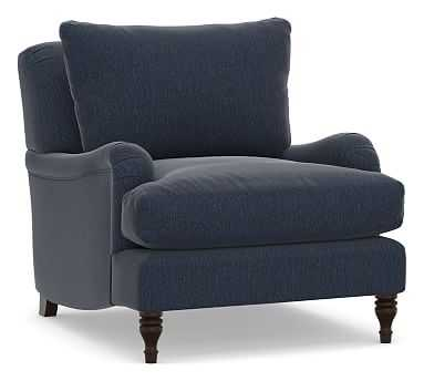 Carlisle Upholstered Armchair, Polyester Wrapped Cushions, Sunbrella(R) Performance Chenille Indigo - Pottery Barn