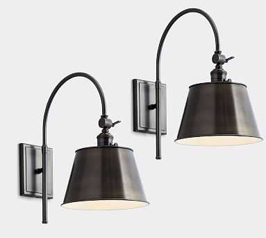 PB Classic Bronze Tapered Metal Hood with Bronze Classic Arc Sconce, Set of 2 - Pottery Barn