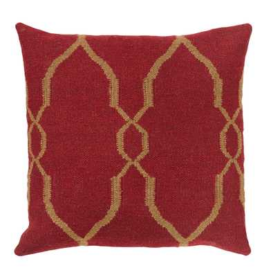 Bodie Rustic Lodge Wool Cotton Down Red Pillow - 18x18 - Kathy Kuo Home